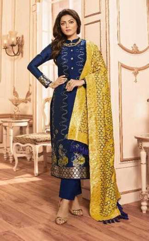 Blue Silk Party Wear Suit With  Dupatta