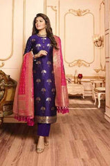 Blue Silk Party Wear Salwar Kameez With  Dupatta