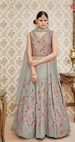 Grey Silk thread Embroidery Anarkali Suit With Dupatta