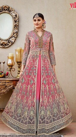 Net Sleeves Pink Grey Embroidery Anarkali With Dupatta