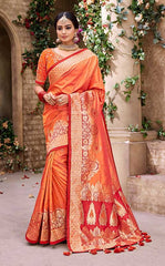 Orange Banarasi Pure Silk  Wedding Wear Saree With Blouse