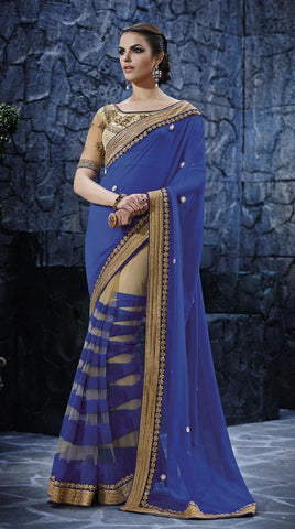 Royal blue,Georgette,Heavy designer saree with heavy embroidery work