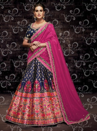 Blue Organza Wedding Wear Lehenga With Pink Dupatta