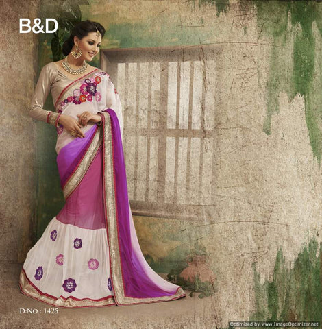 White and Purple  Chiffon Saree with hand work and Embroidery