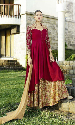 Anarkali style designer maroon long knee length suits and embroidery on sleeves