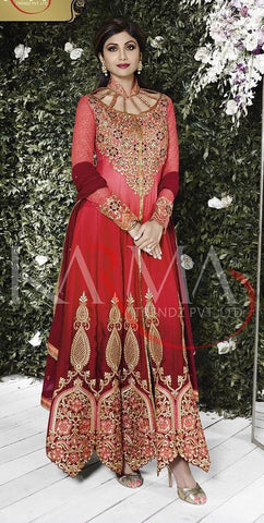 Maroon,Satin,Designer long anarkali heavy embroidery suits