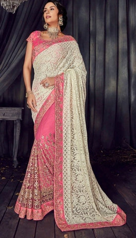 Pink Lucknowi Party Wear  Saree With Blouse