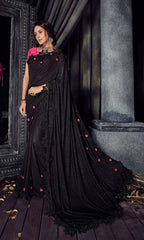 Black Imported Fabric Party Wear  Saree With Blouse