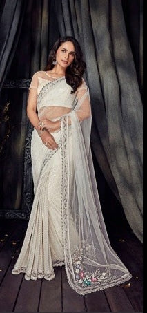 White Antic Flower Party Wear  Saree With Blouse