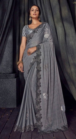 Grey Imported Fabric Party Wear  Saree With Blouse