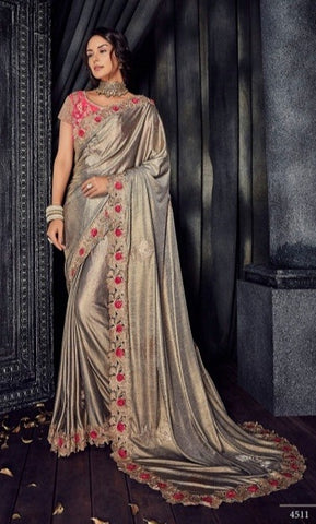 Golden Imported Fabric Party Wear  Saree With Blouse