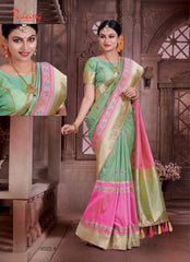 Green Pink Banarsi Silk Banarsi Saree With Blouse