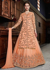 Orange Net Party Wear Anarkali Suit With Orange Dupatta