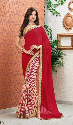 Saree Red,Poly Georgette