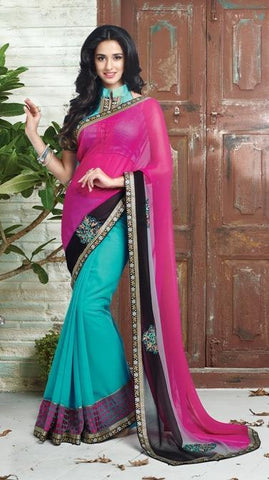 Pink , Blue,Georgette,Designer saree half & half fabric with embroidery work