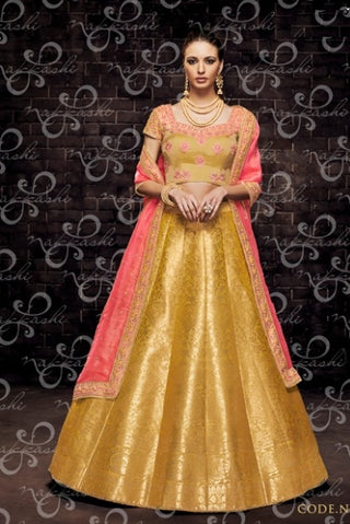 Yellow Organza Wedding Wear Lehenga With Pink Dupatta