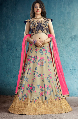 Beige Silk Party Wear Lehenga With Pink Dupatta