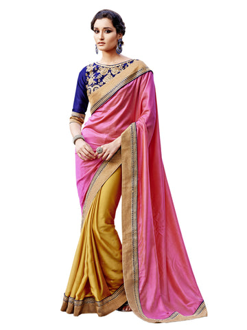 Pink,Satin , Chiffon,party wear designer saree with designer blouse