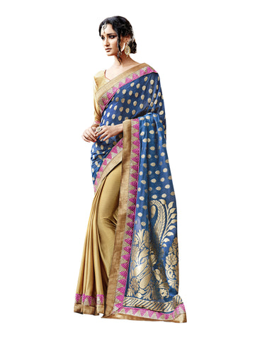 Blue,Georgette Jacquard , Satin Chiffon,party wear designer saree with designer blouse