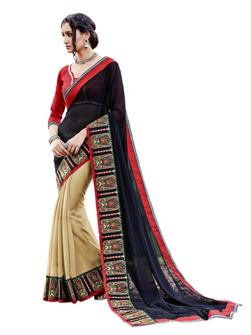 Black,Georgette , Art Silk,party wear designer saree with designer blouse