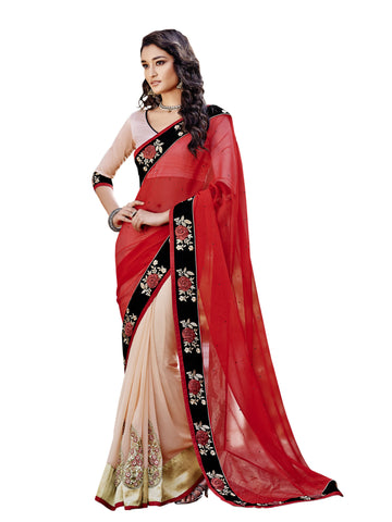 Red,Georgette Chiffon,party wear designer saree with designer blouse