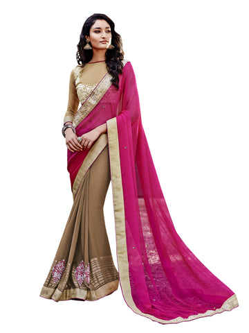 Magenta,Georgette Chiffon,party wear designer saree with designer blouse