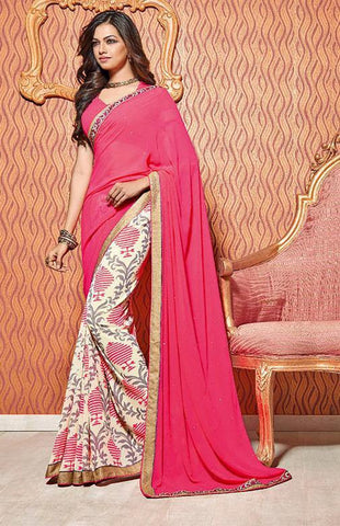 Saree Pink  ,Poly Georgette