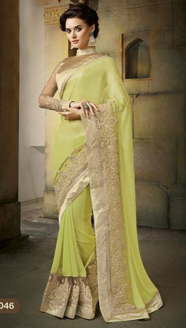 Saree Green , Beige,Georgette