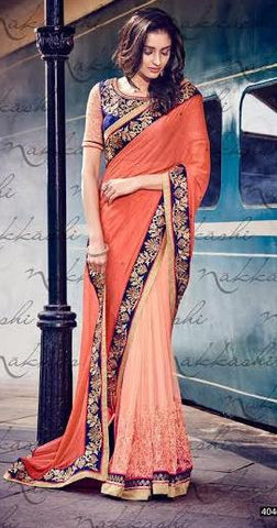 Peach , Orange,Net,Party wear designer heavy saree