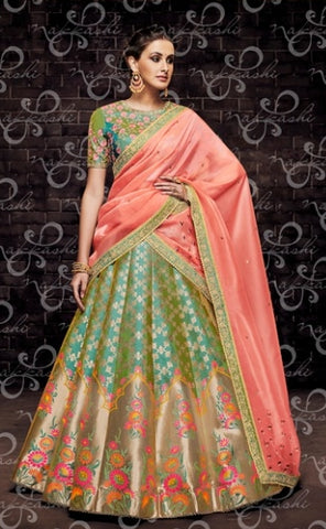 Aqua Organza Wedding Wear Lehenga With Peach Dupatta