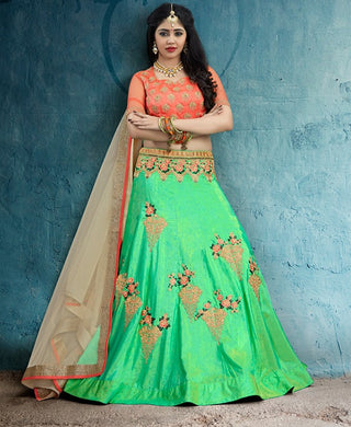 Green Silk Party Wear Lehenga With Beige Dupatta