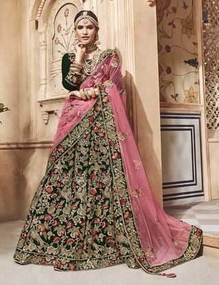 Green Velvet Bridal Lehenga With Pink Dupatta