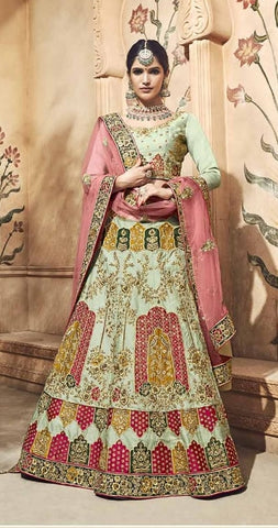 Green Pure Satin Bridal Lehenga With Pink Dupatta