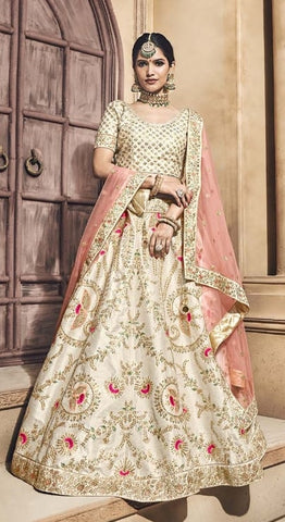 Beige Silk Bridal Lehenga With Beige Dupatta