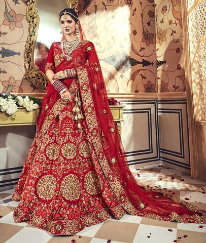 Red Pure Satin Bridal Lehenga With Red Dupatta