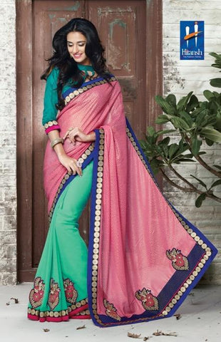 Green , Pink,Half Viving , Half georgette,Designer saree half & half fabric with embroidery work