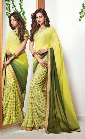Saree Yellow , green,Poly Georgette