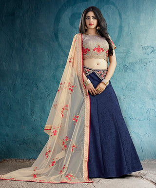 Blue Silk Party Wear Lehenga With Beige Dupatta