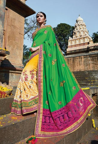 Green , Yellow,Georgette,Designer heavy bridal saree with heavy embroidery work on blouse