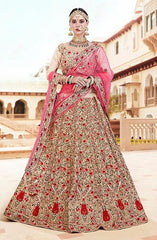 Cream Tissue Bridal Lehenga With Pink Dupatta