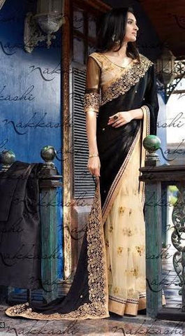 Black , Cream,Jaquard,Party wear designer heavy saree