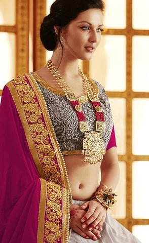 Velvet pallu with embroidery lehenga saree and heavy border