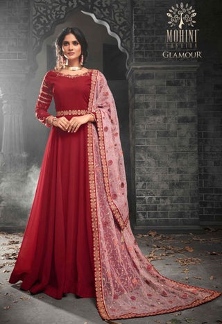 Red Georgette  Gown Style  Anarkali Suit With Pink Dupatta