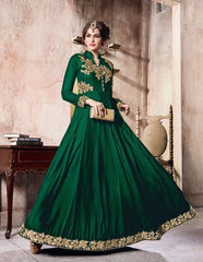 Green Velvet Abaya Style Anarkali With Dupatta