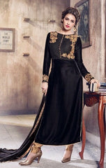 Black  Velvet Abaya Style Long Salwar Suit With Dupatta