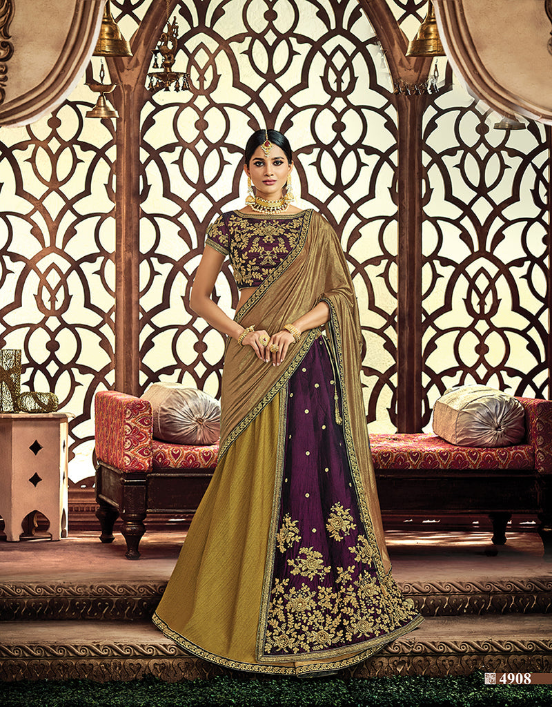 d468253a5bba79 Online Buy Fancy Dupion, Velvet Olive Green, Violet Lehenga By Credit Card  In Chicago – Banglewale International