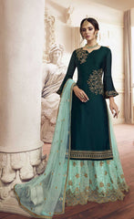 Blue Rangoli Party Wear Salwar Kameez With  Dupatta