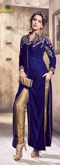 Blue  Velvet Abaya Style Long Salwar Suit With Dupatta