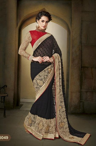 Saree Black , red,Brosso