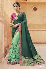 Green Georgette Party Wear Saree With Purple Blouse